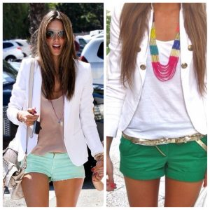 Team a bright pair of shorts with a white jacket or neutrals...accessorize.