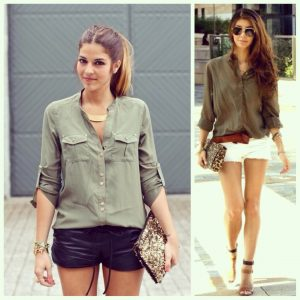 Wear a loose button-thru shirt with a beautiful pair of strappy heels & accessorize to complete the look.