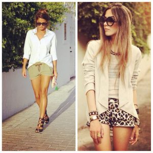 Total sophistication: A soft neutral Jacket teamed with your animal print shorts.