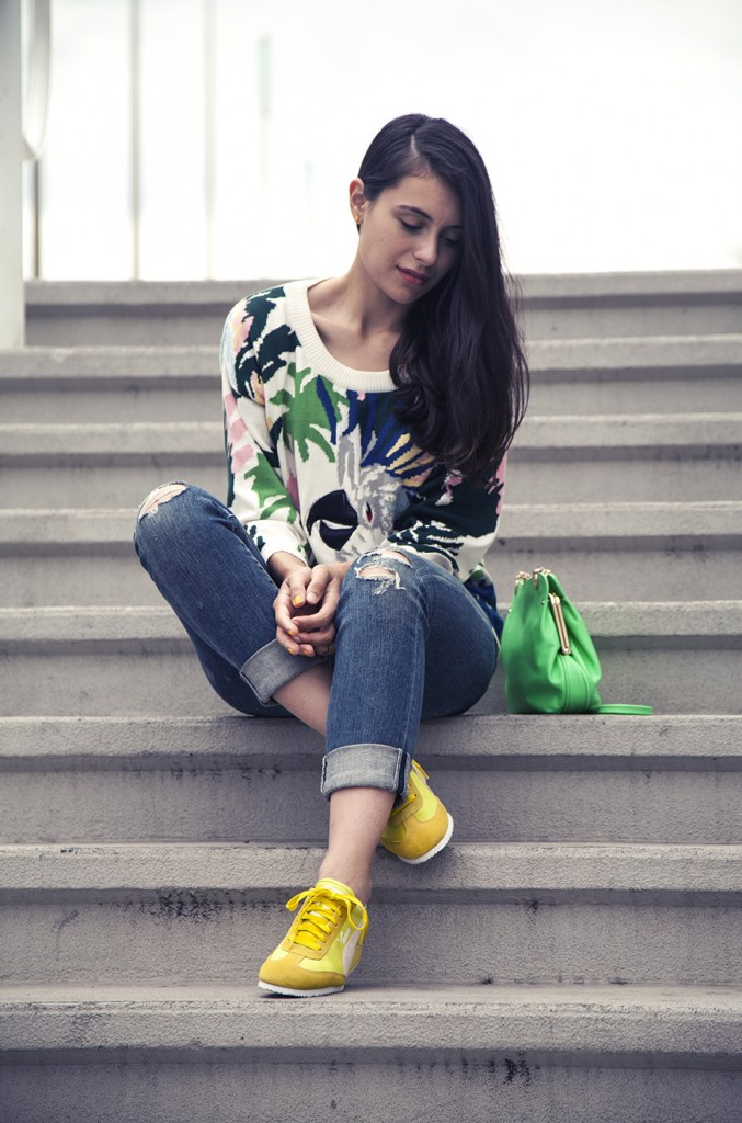 5.-Colorful-Sweater-With-Yellow-Sneakers